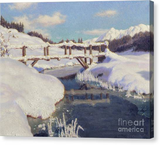 Snow Bank Canvas Print - Sun On The Snow, Switzerland  by Ivan Fedorovich Choultse