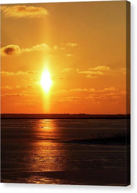Canvas Print featuring the photograph Sun Pillar 01 by Rob Graham