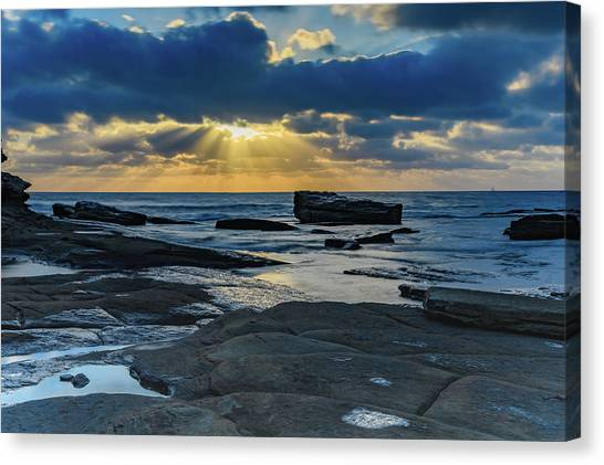 Sun Rays Burst Through The Clouds - Seascape Canvas Print