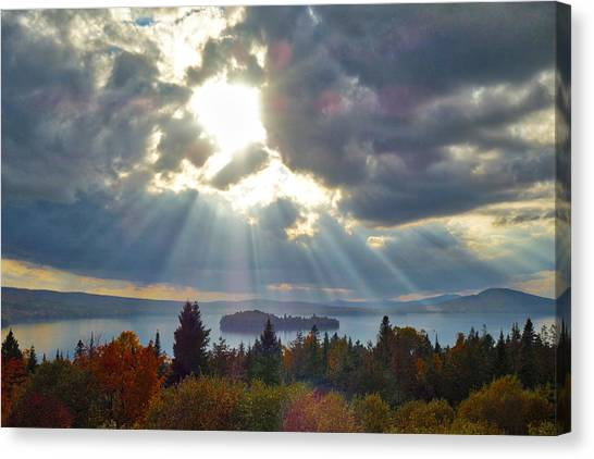 Sun Rays Over Rangeley Lake Canvas Print