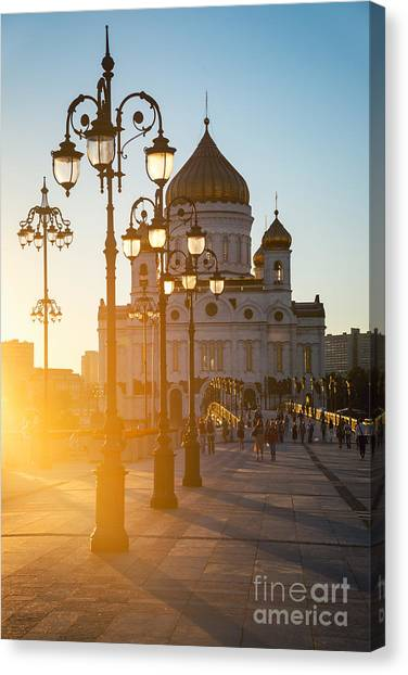 Church Canvas Print - Sun Sinking Behind The Cathedral Of by Madrugada Verde