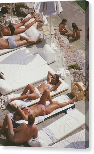 Sunbathers At Eden Roc Canvas Print