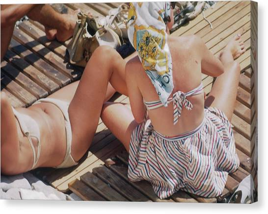 Sunbathing In Nice Canvas Print