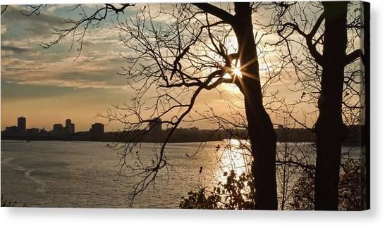 Canvas Print featuring the photograph Sunburst Over Ottawa Skyline by Tatiana Travelways