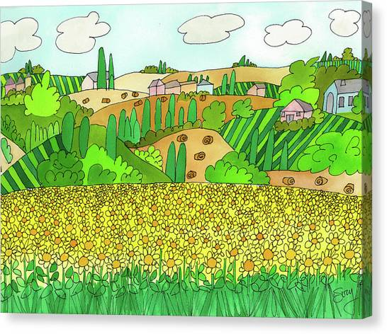 Sunflower French Countryside Canvas Print