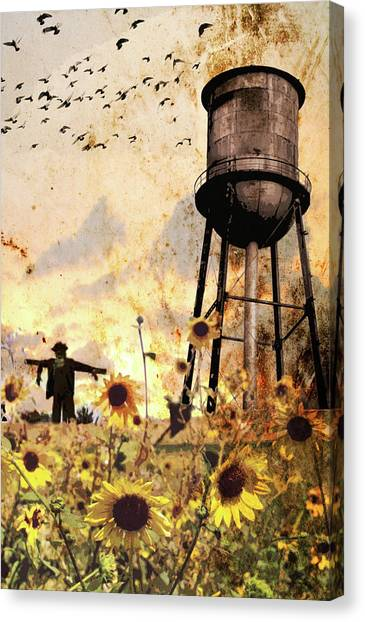 Sunflowers At Dusk Canvas Print