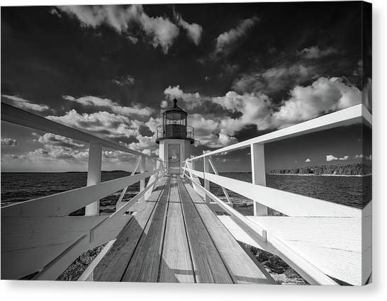 Canvas Print featuring the photograph Sunny Skies At Marshall Point In Black And White by Rick Berk