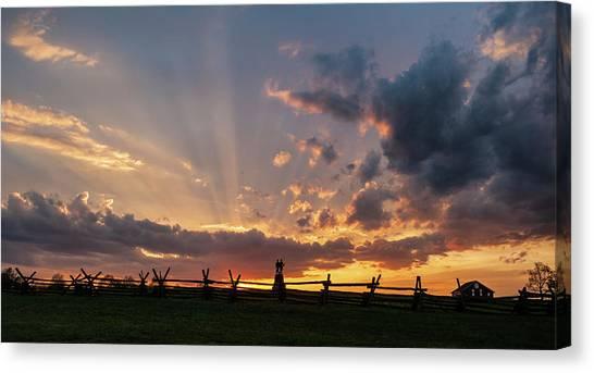Sunrays At Sunset Canvas Print