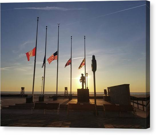 Canvas Print featuring the photograph Sunrise At Firefighter Memorial by Robert Banach