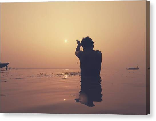 Sunrise At Ganges River, Varanasi Canvas Print