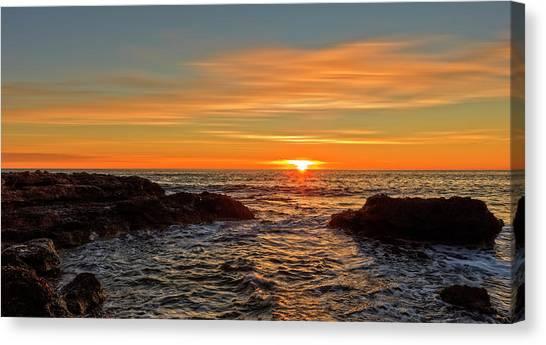 Sunrise By The Mediterranean Sea In Oropesa, Castellon Canvas Print