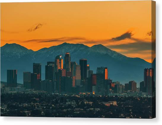 California Canvas Print - Sunrise In La by Art K