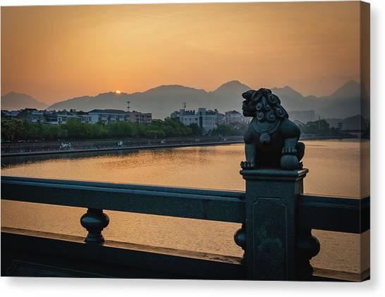 Sunrise In Longquan Seen From Gargoyle Bridge Canvas Print