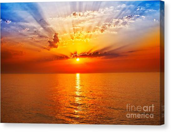 Contour Canvas Print - Sunrise In The Sea by Merydolla