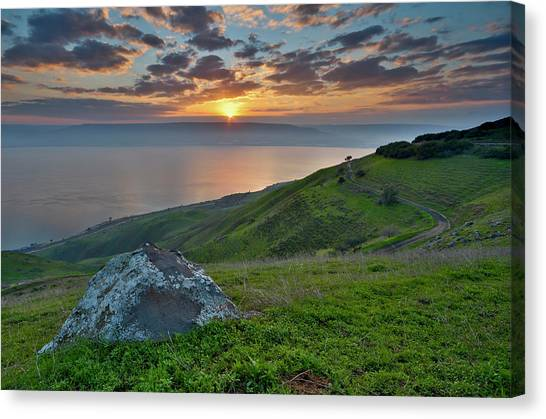 Sunrise On Sea Of Galilee Canvas Print by Ilan Shacham