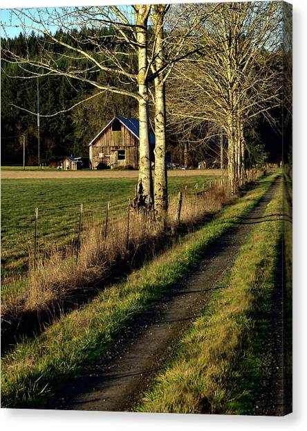 Canvas Print featuring the photograph Sunrise On The Barn by Jerry Sodorff
