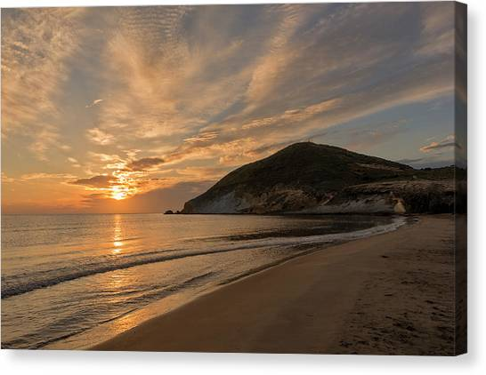 Sunrise On The Beach Of The Genoveses Of Cabo De Gata Canvas Print