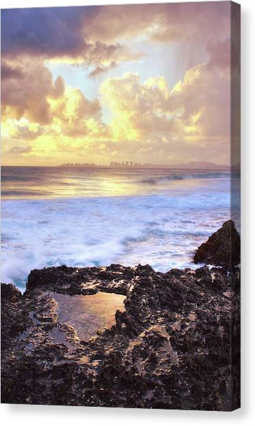Sunrise Over Coolangatta Canvas Print by Nancy Branston