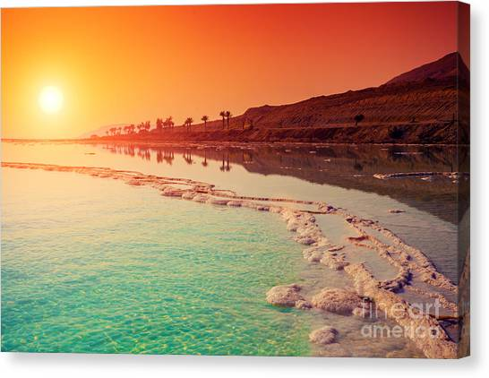 Holy Land Canvas Print - Sunrise Over Dead Sea by Vvvita