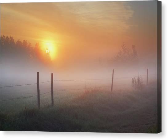 Sunrise Over Morning Pasture Canvas Print