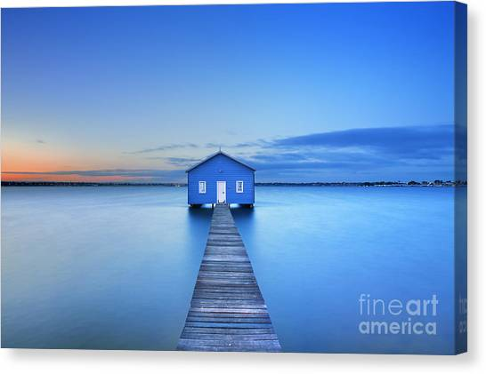 Swan Canvas Print - Sunrise Over The Matilda Bay Boathouse by Sara Winter