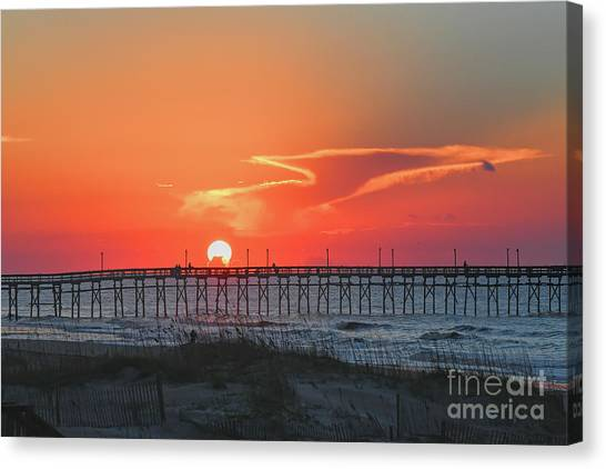 Fire Ball Canvas Print - Sunrise Over The Ocean Isle Beach Pier by Kerri Farley