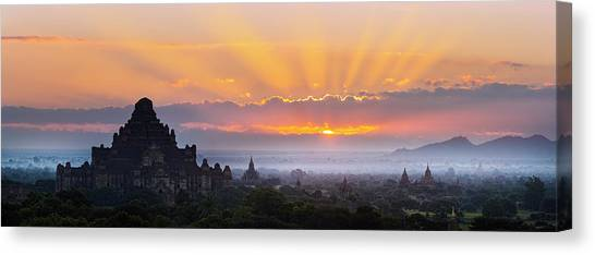 Sunrise Over The Temples Of Bagan Canvas Print by Jon Hicks