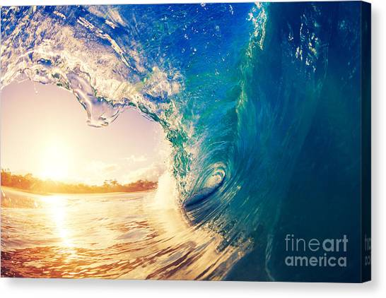 Tides Canvas Print - Sunrise Wave, Tropical Island Atoll by Epicstockmedia