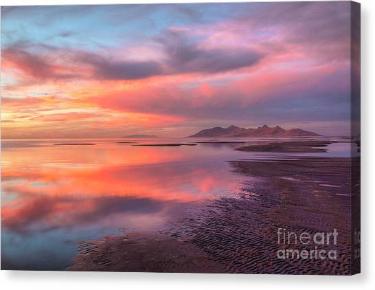 Canvas Print featuring the photograph Sunset And Antelope Island by Spencer Baugh