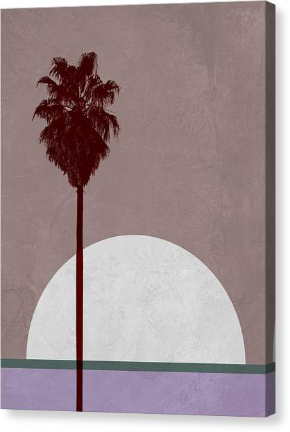 Cacti Canvas Print - Sunset And Beach Palm Tree  by Naxart Studio