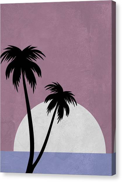 Cacti Canvas Print - Sunset And Beach Palm Trees by Naxart Studio