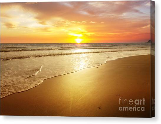 Atmosphere Canvas Print - Sunset And Beach by Sumroeng Chinnapan