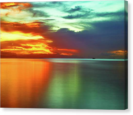 Sunset And Boat Canvas Print