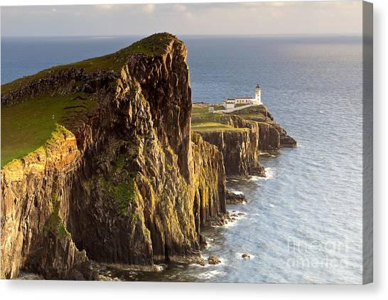 Cliffs Canvas Print - Sunset And Lighthouse At Neist Point by Luboslav Tiles
