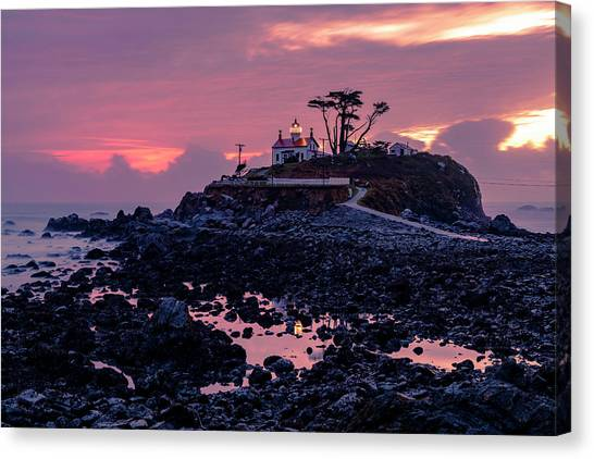 Sunset And Low Tide At Battery Point Canvas Print