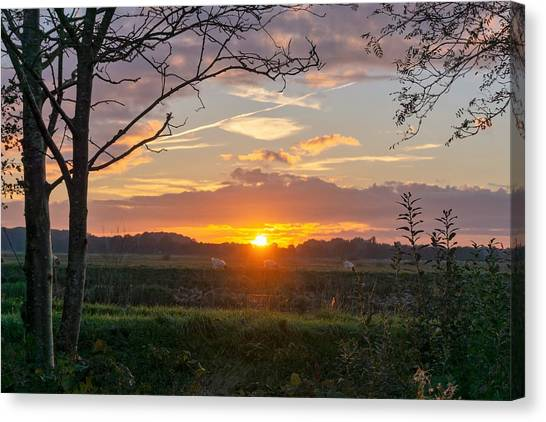 Canvas Print featuring the photograph Sunset by Anjo Ten Kate