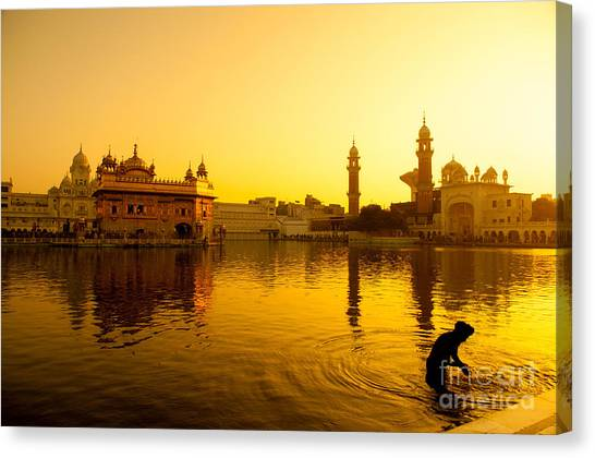 Worship Canvas Print - Sunset At Golden Temple In Amritsar by Szefei