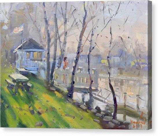 Dock Canvas Print - Sunset At The Dock By Tonawanda Canal  by Ylli Haruni
