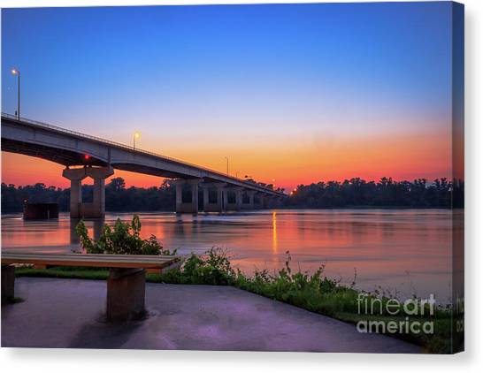 Sunset At The River Park Canvas Print