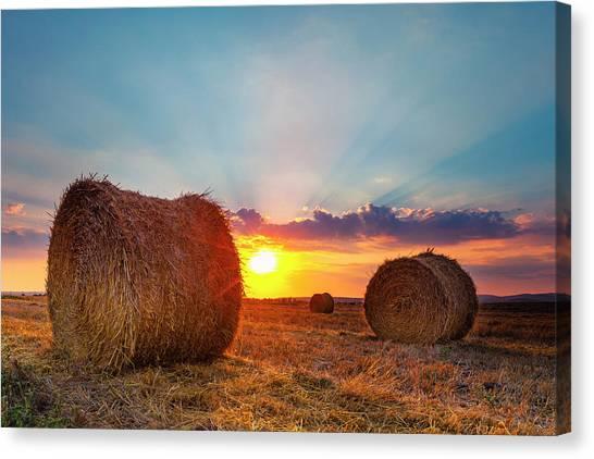 Sunset Bales Canvas Print