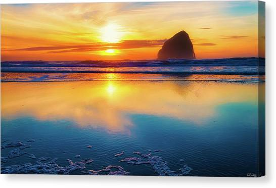 Sunset Haystack Rock Canvas Print
