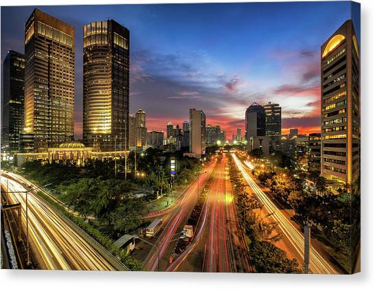 Sunset In Jakarta Canvas Print by The Trinity