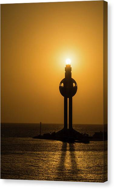 Canvas Print featuring the photograph Sunset In Port Jeddah, Saudi Arabia by William Dickman