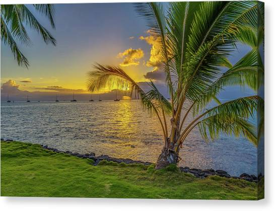 Snorkling Canvas Print - Sunset In Tahiti French Polynesia by Scott McGuire