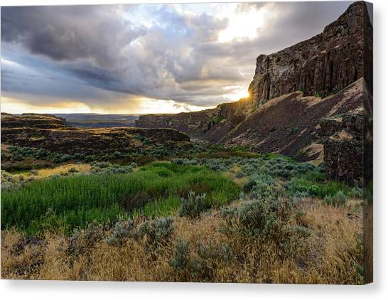 Sunset In The Ancient Lakes Canvas Print