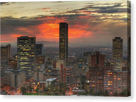 Sunset In The City, Hdr Canvas Print by Tobntno