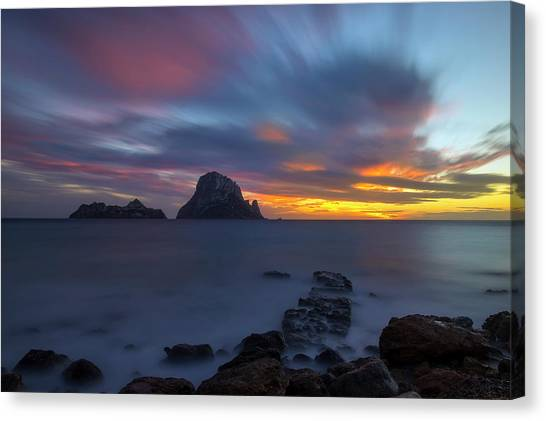 Sunset In The Mediterranean Sea With The Island Of Es Vedra Canvas Print
