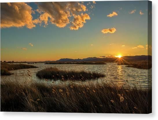 Sunset In The Natural Park Of Prat De Cabanes Canvas Print
