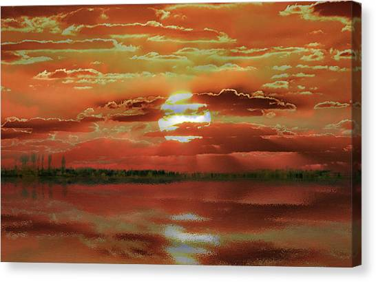Canvas Print featuring the photograph Sunset Lake by Bill Swartwout Fine Art Photography