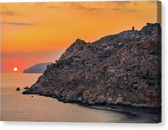 Canvas Print featuring the photograph Sunset Near Cape Tainaron by Milan Ljubisavljevic